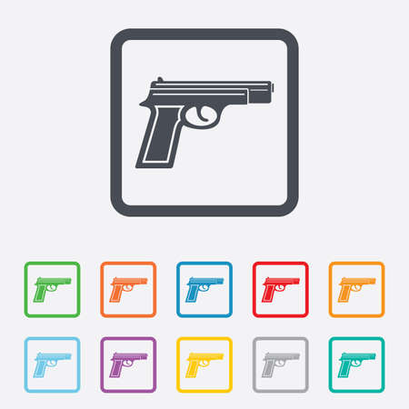 Gun sign icon. Firearms weapon symbol. Round squares buttons with frame. Vector Vector