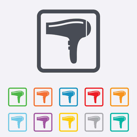 blow drying: Hairdryer sign icon. Hair drying symbol. Round squares buttons with frame. Vector