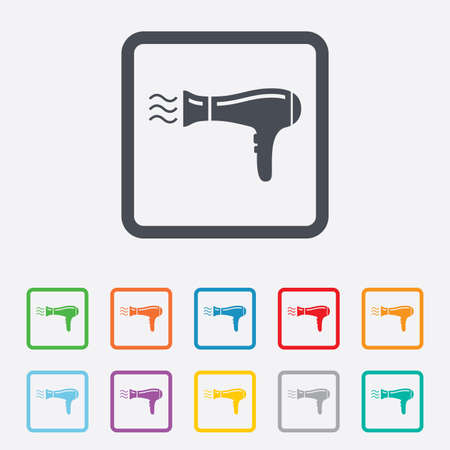 Hairdryer sign icon. Hair drying symbol. Blowing hot air. Turn on. Round squares buttons with frame. Vector