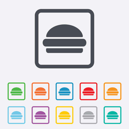 Hamburger sign icon. Fast food symbol. Junk food. Round squares buttons with frame. Vector Vector
