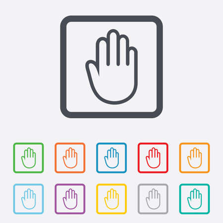 give me five: Hand sign icon. No Entry or stop symbol. Give me five. Round squares buttons with frame. Vector Illustration