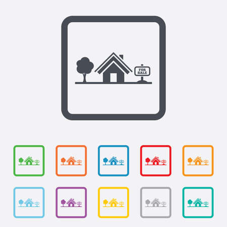 house for sale: Home sign icon. House for sale. Broker symbol. Round squares buttons with frame. Vector