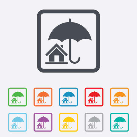 belay: Home insurance sign icon. Real estate insurance symbol. Round squares buttons with frame. Vector