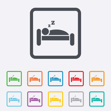 Hotel apartment sign icon. Travel rest place. Sleeper symbol. Round squares buttons with frame. Vector Vector