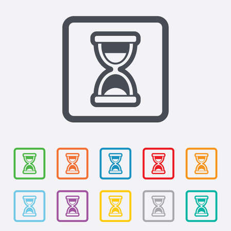 sandglass: Hourglass sign icon. Sand timer symbol. Round squares buttons with frame. Vector