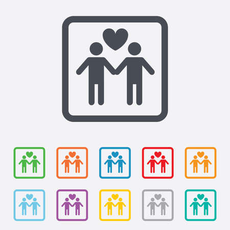 Couple sign icon. Male love male. Gays with heart. Round squares buttons with frame. Vector Vector