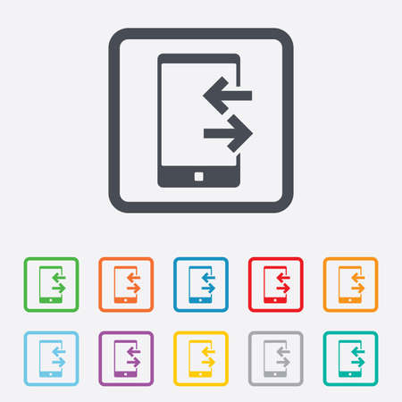 outcoming: Incoming and outcoming calls sign icon. Smartphone symbol. Round squares buttons with frame. Vector