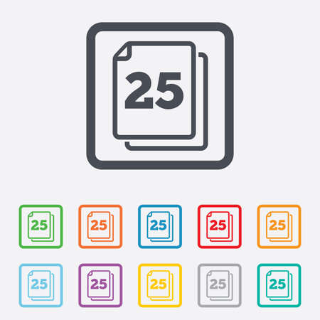 In pack 25 sheets sign icon. 25 papers symbol. Round squares buttons with frame. Vector Vector