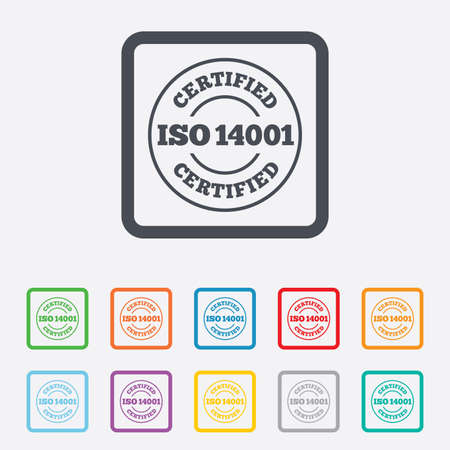 ISO 14001 certified sign icon. Certification stamp. Round squares buttons with frame. Vector Vector