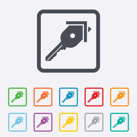 Key from the house sign icon. Unlock tool symbol. Round squares buttons with frame. Vector Vector