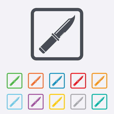 stab: Knife sign icon. Edged weapons symbol. Stab or cut. Hunting equipment. Round squares buttons with frame. Vector Illustration
