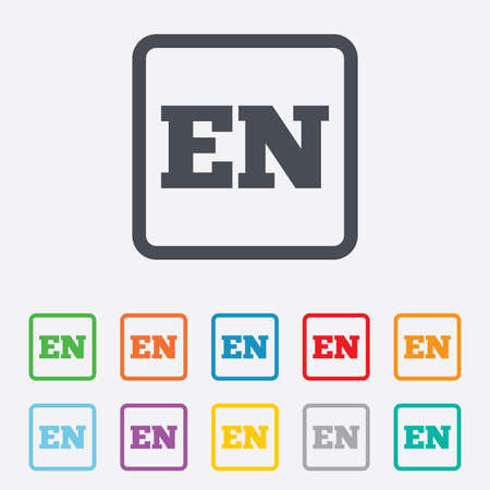 en: English language sign icon. EN translation symbol. Round squares buttons with frame. Vector