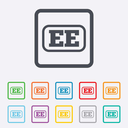 ee: Estonian language sign icon. EE translation symbol with frame. Round squares buttons with frame. Vector