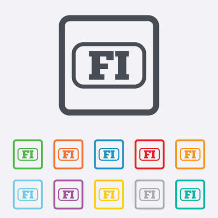 finnish: Finnish language sign icon. FI Finland translation symbol with frame. Round squares buttons with frame. Vector