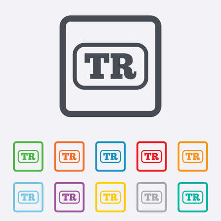 tr: Turkish language sign icon. TR Turkey Portugal translation symbol with frame. Round squares buttons with frame. Vector Illustration