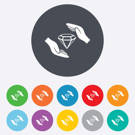 brilliants: Jewelry insurance sign icon. Hands protect cover diamonds symbol. Brilliants insurance. Round colourful 11 buttons. Vector