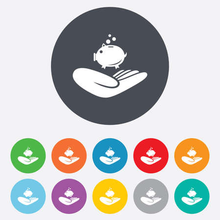 endowment: Donation hand sign icon. Hand holds Piggy bank. Charity or endowment symbol. Human helping hand palm. Round colourful 11 buttons. Vector