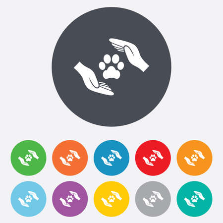 Protection of animals sign icon. Hands protect paw symbol. Shelter for dogs. Animals insurance. Round colourful 11 buttons. Vector Vector