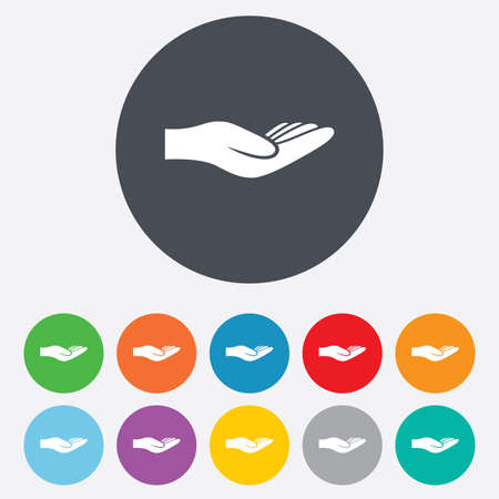 endowment: Donation hand sign icon. Charity or endowment symbol. Human helping hand palm. Round colourful 11 buttons. Vector