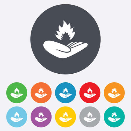 Insurance against fire sign icon. Hand holds fire flame symbol. Round colourful 11 buttons. Vector Vector