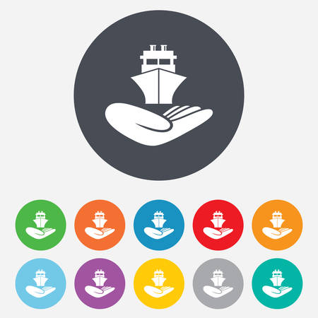 giving hands: Shipment insurance sign. Hand holds ship symbol. Round colourful 11 buttons. Vector