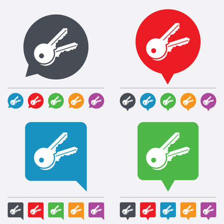 Keys sign icon. Unlock tool symbol. Speech bubbles information icons. 24 colored buttons. Vector Vector