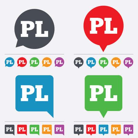pl: Polish language sign icon. PL translation symbol. Speech bubbles information icons. 24 colored buttons. Vector