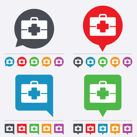 doctor symbol: Medical case sign icon. Doctor symbol. Speech bubbles information icons. 24 colored buttons. Vector