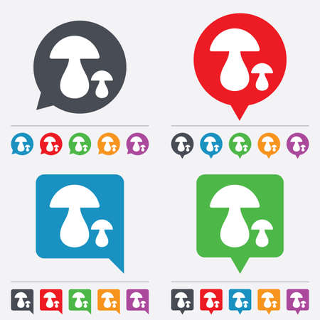 boletus: Mushroom sign icon. Boletus mushroom symbol. Speech bubbles information icons. 24 colored buttons. Vector
