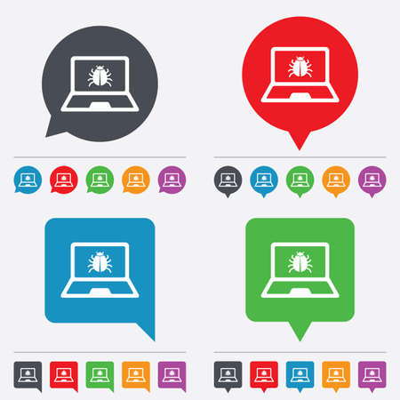 ultrabook: Laptop virus sign icon. Notebook software bug symbol. Speech bubbles information icons. 24 colored buttons. Vector