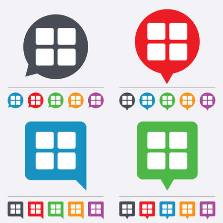 thumbnails: Thumbnails sign icon. Gallery view option symbol. Speech bubbles information icons. 24 colored buttons. Vector