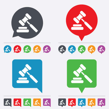 auction gavel: Auction hammer icon. Law judge gavel symbol. Speech bubbles information icons. 24 colored buttons. Vector Illustration