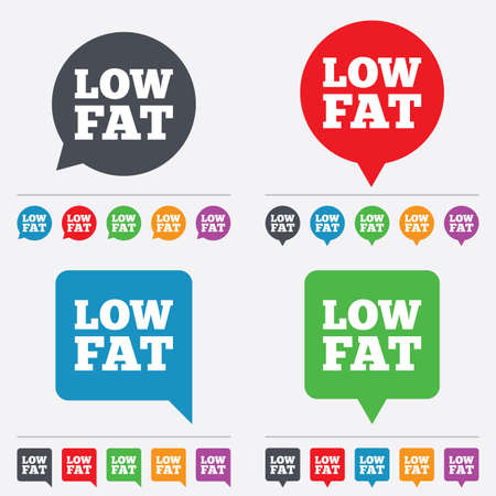 Low fat sign icon. Salt, sugar food symbol. Speech bubbles information icons. 24 colored buttons. Vector