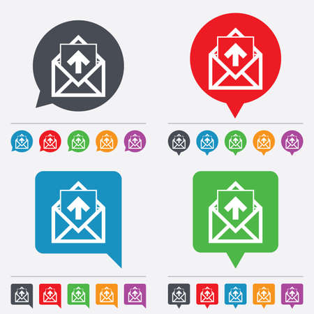 outgoing: Mail icon. Envelope symbol. Outgoing message sign. Mail navigation button. Speech bubbles information icons. 24 colored buttons. Vector