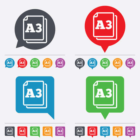 a3: Paper size A3 standard icon. File document symbol. Speech bubbles information icons. 24 colored buttons. Vector