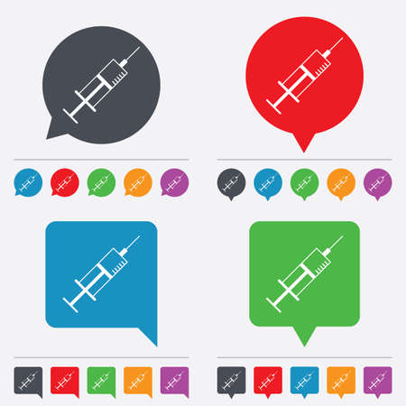 Syringe sign icon. Medicine symbol. Speech bubbles information icons. 24 colored buttons. Vector Vector