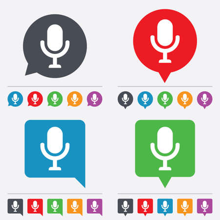 Microphone icon. Speaker symbol. Live music sign. Speech bubbles information icons. 24 colored buttons. Vector