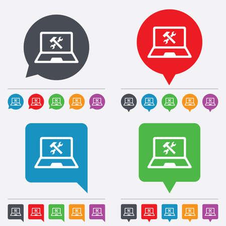 laptop repair: Laptop icono de signo de reparaci�n. Notebook s�mbolo servicio soluci�n. Burbujas del discurso iconos de informaci�n. 24 botones de colores. Vector
