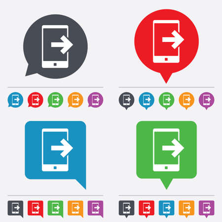 outcoming: Outcoming call sign icon. Smartphone symbol. Speech bubbles information icons. 24 colored buttons. Vector Illustration