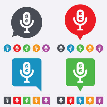 usr: Microphone icon. Speaker symbol. Paid music sign. Speech bubbles information icons. 24 colored buttons. Vector