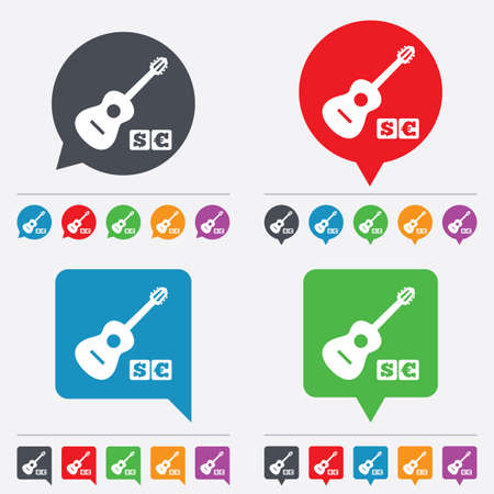 usr: Acoustic guitar sign icon. Paid music symbol. Speech bubbles information icons. 24 colored buttons. Vector Illustration