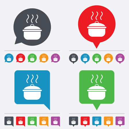 stew: Cooking pan sign icon. Boil or stew food symbol. Speech bubbles information icons. 24 colored buttons. Vector