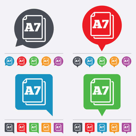 a7: Paper size A7 standard icon. File document symbol. Speech bubbles information icons. 24 colored buttons. Vector Illustration