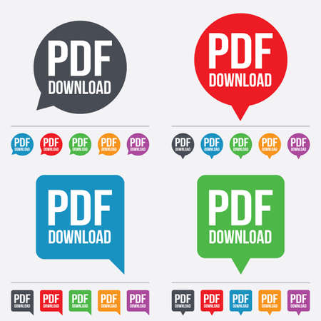 PDF download icon. Upload file button. Load symbol. Speech bubbles information icons. 24 colored buttons. Vector Vector