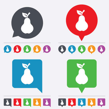 Pear with leaf sign icon. Fruit symbol. Speech bubbles information icons. 24 colored buttons. Vector Vector