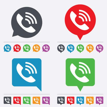 rang: Phone sign icon. Support symbol. Call center. Speech bubbles information icons. 24 colored buttons. Vector