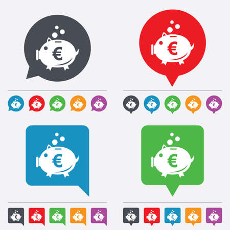 Piggy bank sign icon. Moneybox euro symbol. Speech bubbles information icons. 24 colored buttons. Vector