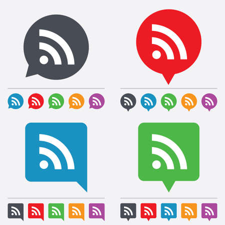 rss feed: RSS sign icon. RSS feed symbol. Speech bubbles information icons. 24 colored buttons. Vector