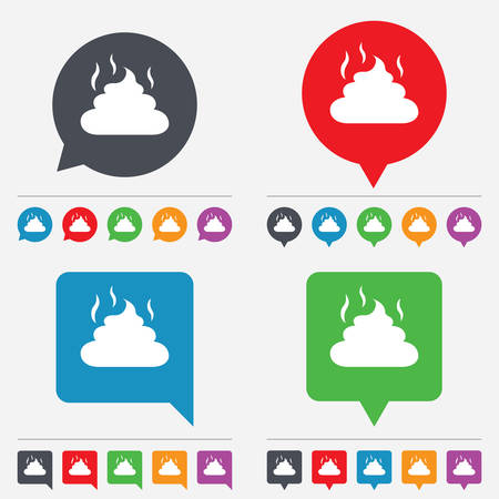 feces: Feces sign icon. Clean up after pets symbol. Put it in the bag. Speech bubbles information icons. 24 colored buttons. Vector