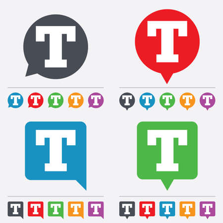 t document: Text edit sign icon. Letter T button. Speech bubbles information icons. 24 colored buttons. Vector